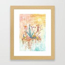 Blue Cactus and Landscape Watercolor Framed Art Print
