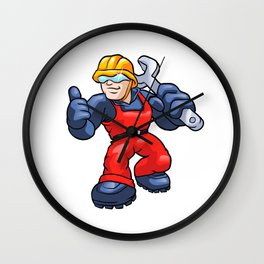 Cartoon plumber holding a big wrench. Wall Clock