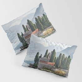 Montenegro Perast Kotor bay Mountains Fence Island Bay Houses Cities mountain Building Pillow Sham