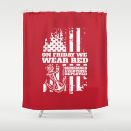 On Fridays We Wear Red Navy Family Shower Curtain