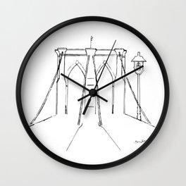 Brooklyn Bridge in Black Ink Wall Clock