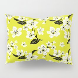 Light Yellow & White Sakura Cherry Tree Flower Blooms on Dark Yellow - Aloha Hawaiian Floral Pattern Pillow Sham
