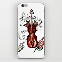 Brown Violin with Notes iPhone Skin
