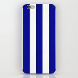 Cadmium blue - solid color - white vertical lines pattern iPhone Skin