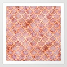 Pink Gold Marble Mermaid Scales Art Print