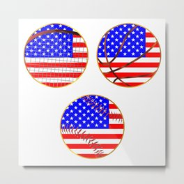 Sports Icons With Stars And Stripes Metal Print