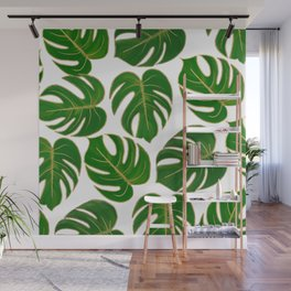 Modern hand painted green faux gold monster leaves Wall Mural