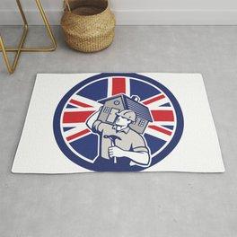 British Building Contractor UK Flag Icon Rug