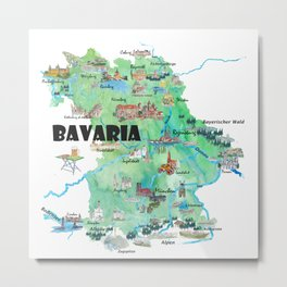 Bavaria Germany Illustrated Travel Poster Map Metal Print