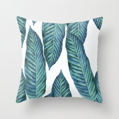 Blue Banana Leaves #society6 Throw Pillow