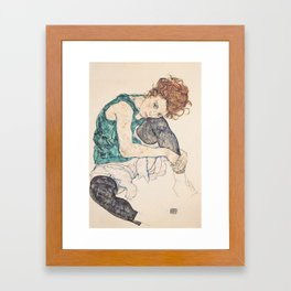 SEATED WOMAN WITH BENT KNEE - EGON SCHIELE Framed Art Print