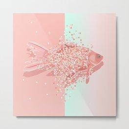 Glitter Glam / Rosegold / Holographic Rainbow Fish Metal Print