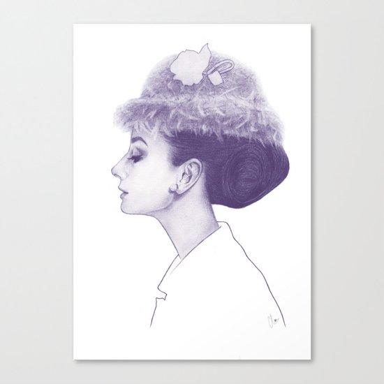 Audrey Hepburn in Purple  Canvas Print