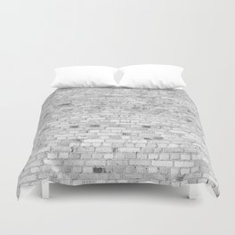 White Washed Brick Wall - Light White and Grey Wash Stone Brick Duvet Cover