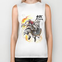 fairy tail Biker Tanks featuring Natsu from Fairy Tail sumi/watercolor by mycks