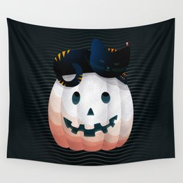 065 - tired kitty on the Halloween pumkpin Wall Tapestry