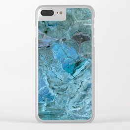 Oceania Teal & Blue Marble Clear iPhone Case
