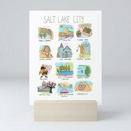 Salt Lake City Illustrated Guide Mini Art Print