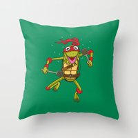 muppet Throw Pillows featuring TEENAGE MUPPET NINJA PUPPET by T.a. Bryant