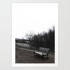 Lonely Bench in Iceland National Geysir Park Art Print