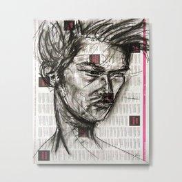 Warrior - Charcoal on Newspaper Figure Drawing Metal Print