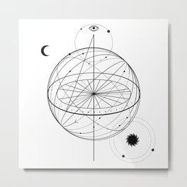 Alchemy symbol with eye, moon, sun Metal Print