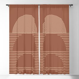 Geometric Lines in Terracotta and Beige 37 (Sunrise and Sunset) Blackout Curtain