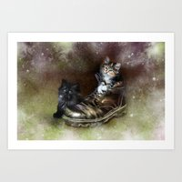 kittens Art Prints featuring Kittens by Julie Hoddinott