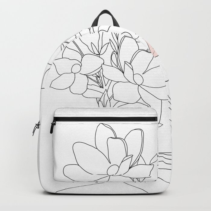 Minimal Line Art Woman with Magnolia Rucksack