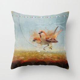 Kathmandu Cinnamon Sparrows Throw Pillow