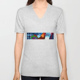 Rooster lady art graphic  Unisex V-Neck