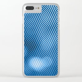 Snorkel blue chevron pattern with bokeh texture Clear iPhone Case