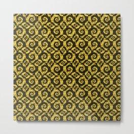 Black and gold Spirals Metal Print