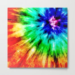 Tie Dye Meets Watercolor Metal Print