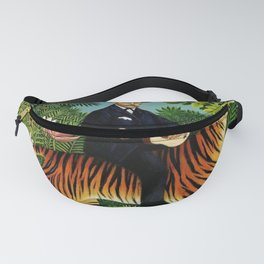 Henri Rousseau Dreaming of Tigers tropical big cat jungle scene by Henri Rousseau Fanny Pack