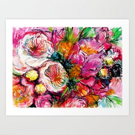 pink bouquet with two white buttercups Art Print