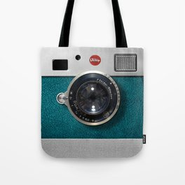 Blue Teal retro vintage camera with germany lens Tote Bag
