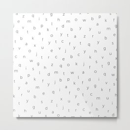 ABC alphabet back to school type pattern Black & White Metal Print