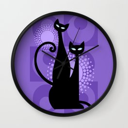 Purple Paradise Atomic Age Black Kitschy Cats Wall Clock