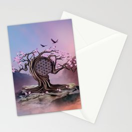 Blossoming Flower of Life Tree Stationery Cards