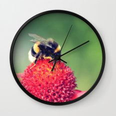 Bumble Bee on a Red Blossom Wall Clock