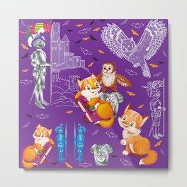 fox and owl  Pattern Metal Print