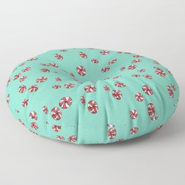 Peppermint Candy in Aqua Floor Pillow