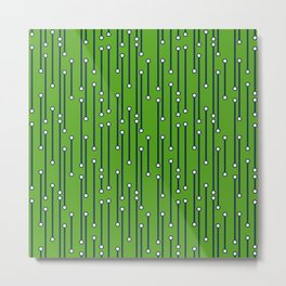 Dotted Lines in Lime Green, Navy and White Metal Print