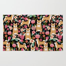 Shiba Inu floral dog breed pet art must have gifts pure bred shiba inus doggo Rug