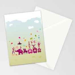 colorful circus carnival traveling in one row during daylight Stationery Cards