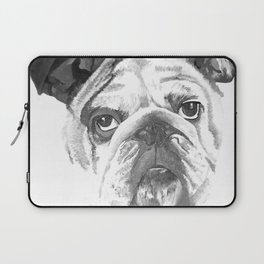 Portrait Of An American Bulldog In Black and White Laptop Sleeve