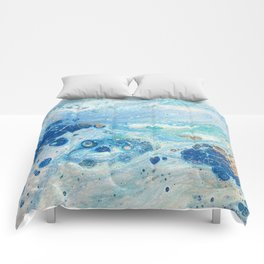 Under the Sea - Blue Abstract Acrylic Pour Art Comforters