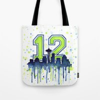 seahawks Tote Bags featuring Seattle 12th Man Art Skyline Watercolor  by Olechka