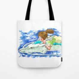 Ghibli Spirited Away Sky Illustration Tote Bag